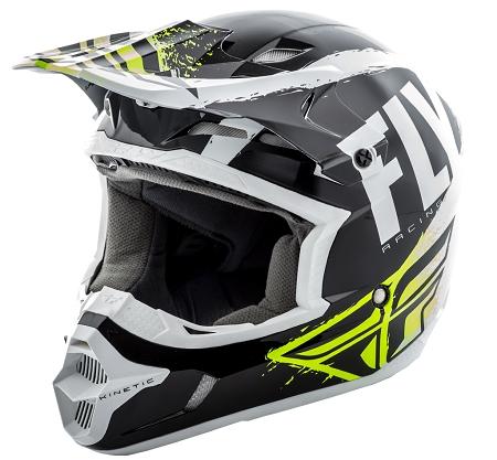 Fly Racing Kinetic Burnish Helmet - Black / White / Hi-Vis